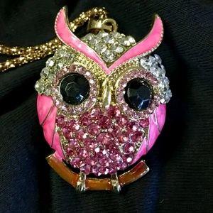 Betsey Johnson Pink Owl Pendant Necklace Hot!!